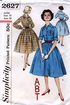 445d37785 Simplicidad 2627 Vintage años 50 Junior y por retrowithlana en Etsy Moda De  Época