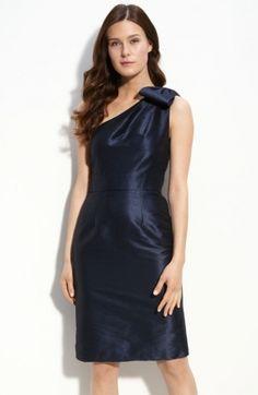 Blue Column One Shoulder Knee Length Zipper Bridesmaid Dresses With Belt