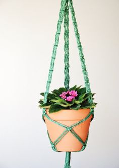 Macrame Plant hanger - 50 inches - White / gray / black / purple / red / green / blue / turquoise / orange / teal / burgundy / navy blue /7