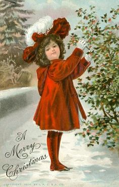bumble button: Antique postcards of Charming Children in Red Christmas Coats Free Clip arts Merry Christmas Santa, Old Fashioned Christmas, Christmas Past, Victorian Christmas, Vintage Christmas Cards, Christmas Pictures, Christmas Greetings, Christmas Postcards, Christmas Girls