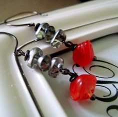 Items similar to Retro Revival Art Deco Red and Silver Glass Bead Dangle Earrings on Etsy Bird Jewelry, Silver Jewelry, Vintage Jewelry, Handmade Jewelry, Jewelry Design, Brown Bird, Little Brown, Dangle Earrings, Glass Beads