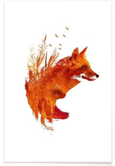 "Trademark Art ""Plattensee Fox"" by Robert Farkas Graphic Art on Wrapped Canvas Art Fox, Poster Online, Art En Ligne, Fox Print, Art Mural, Wall Art, Art Graphique, Of Wallpaper, Framed Artwork"