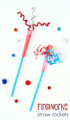 Safely join in the Fourth of July fun with this fireworks straw rocket craft. Kids LOVE launching them, and they take just a couple minutes to make. New Year's Eve Crafts, Holiday Crafts, Fun Crafts, Fireworks Craft For Kids, Fourth Of July Crafts For Kids, 4th Of July Games, Fireworks Art, 4. Juli Party, 4th Of July Party