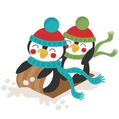 Penguins Sledding Winter: Miss Kate Cuttables-- SVG scrapbook cut file cute clipart files for silhouette cricut pazzles free svgs free svg cuts cute cut files