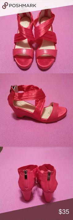 Alan Red Cross Cross Sandal Sandals (Never worn) Shoes Wedges