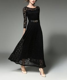 Another great find on #zulily! Black Lace-Overlay Maxi Dress #zulilyfinds