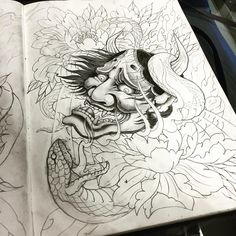 Không có văn bản thay thế tự động nào. Japanese Demon Mask Tattoo, Japanese Hannya Mask, Japanese Tattoo Art, Japanese Art, Hanya Mask Tattoo, Oni Tattoo, Japanese Mask Meaning, Oni Demon, Mask Drawing