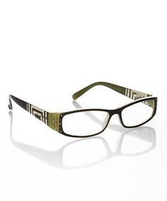 800011c201f5 Another great find on  zulily! Lime Rhinestone Square Readers  zulilyfinds Reading  Glasses
