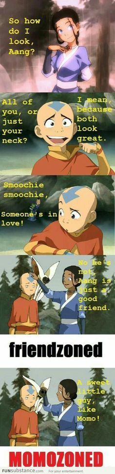 Aang, Katara, Sokka, funny, text, quote, comic, friendzoned, Momozoned, Momo; Avatar: the Last Airbender