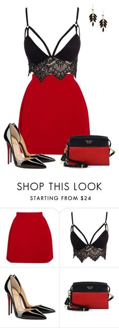 """Untitled #853"" by angela-vitello on Polyvore featuring Delpozo, Club L, Christian Louboutin and Prada"