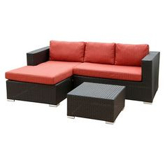 Oxford Outdoor Black Wicker Sectional and Table Set