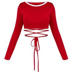 Red Longsleeve Harness Detail Crop Top (650 INR) ❤ liked on Polyvore featuring tops, long sleeve tops, white crop top, harness top, long-sleeve crop tops and harness crop top