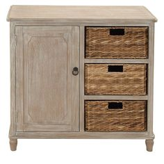 Perfect for country-casual or beach-chic aesthetics, this charming dresser showcases a weathered finish and 3 basket drawers.