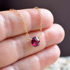 Rhodolite Garnet Choker, Simple Necklace, Genuine Gemstone Jewelry, Gold Filled, Raspberry Red, Coin Shape, Free Shipping