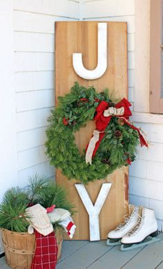 Outdoor JOY Wreath Sign