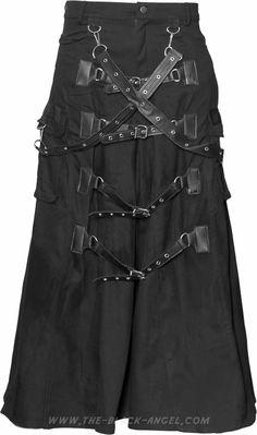 Gothic bondage men's skirt by Raven SDL, black with adjustable buckled straps.