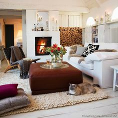"""""""We love this #livingroom! ❤ It's so cozy!   #cat #candles #fireplace #welovewestwing #instahome #design #interiorlover #detailscount #homestyling…"""""""