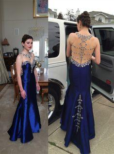 Pd07103 High Quality Prom Dress,Mermaid Prom Dress,O-Neck Prom Dress,Satin Prom Dress,Beading Prom Dress