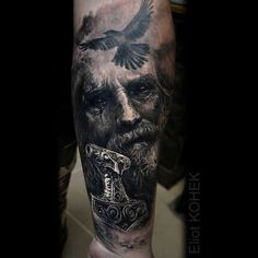 Black and grey portrait by Eliot Kohek Hand Tattoos, Body Art Tattoos, Sleeve Tattoos, Norse Mythology Tattoo, Norse Tattoo, Viking Tattoo Sleeve, Viking Tattoos, Future Tattoos, Tattoos For Guys
