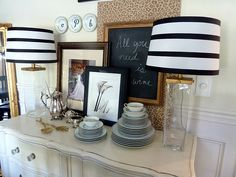 black and white striped lamps