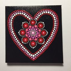 Hand Painted Mandala on Canvas, Valentines Day, Dot Art, Calming, Healing, #422 by MafaStones on Etsy