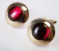 Swank Men's Cufflinks Red Glass Circle Gold by GretelsTreasures