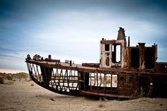 Moynaq - Once a bustling fishing port, this semi-ghost town is now more than 150km away from the shore