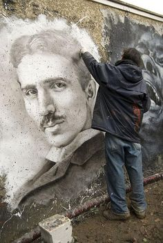 ღღ Nikola Tesla! #street art #graffiti  A very talented artist. I appreciate that he is sharing it with the public.