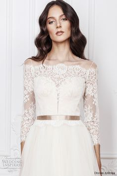 divine atelier 2016 bridal gowns three quarter sleeves illusion boat plunging sweetheart neckline lace bodice romantic a line wedding dress illusion back sweep train (ramia) zv