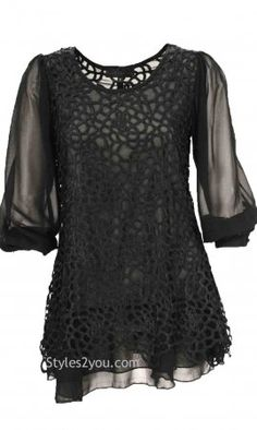 Opal Antique Skirted Sleeved Blouse In Black