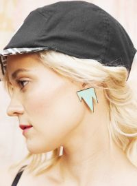 R/H for FLOW - Mountain Earrings Mint Fashion Online, Flow, Baseball Hats, Peach, Mountain, Wood Wood, Designer Clothing, Mini, Earrings