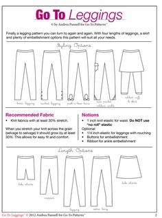 Go To Leggings sewing pattern is the best leggings pattern available! | The best sewing patterns for women, girls, toys and more. Go To Patt...