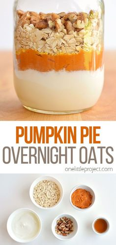 This pumpkin pie overnight oats recipe tastes SO GOOD! It has yummy fall flavours and is so hearty and comforting! It's a delicious, healthy and quick breakfast idea and a great way to save time in the morning! Such a great make ahead breakfast recipe! Pumpkin Pie Recipes, Oats Recipes, Mexican Breakfast Recipes, Brunch Recipes, Pumpkin Overnight Oats, Breakfast Sandwiches, Breakfast Pizza, Breakfast Cookies, Breakfast Bowls
