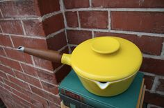 Danish Copco Michael Lax Design. Bright Yellow Enamel Cast Iron Pot Sauce Pan