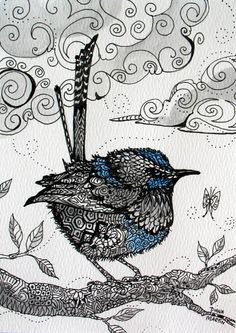 A little Fairy Wren ..so sweet 5x7 original