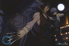Black Butler (黒執事)Sebastian and Ciel keep their guard up against the Undertaker in new Kuroshitsuji Book of the Atlantic poster art from the March issue of Newtype Magazine (Amazon US | eBay), illustrated by key animator Shinobu Nishioka (西岡忍).
