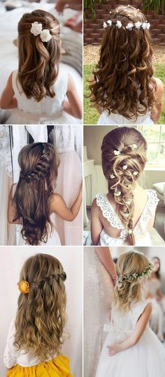 Coiffure mariage : 2017 wedding long hairstyles for little girls - Frauen Frisuren 2019 Wedding Hairstyles For Girls, Flower Girl Hairstyles, Little Girl Hairstyles, Trendy Hairstyles, Short Haircuts, Bohemian Hairstyles, Latest Haircuts, Evening Hairstyles, Haircut Short