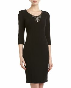Rhinestone-Neck Sheath Dress, Black by Donna Morgan at Neiman Marcus Last Call.