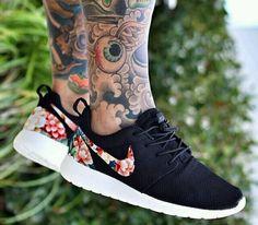 nike roshe runs floral/black custom