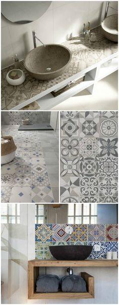 Piastrelle decorate in ceramica con grafiche pastello - Piastrelle decorate per bagno ...