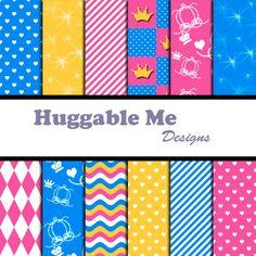 Princess Digital Scrapbook Papers  Inspired by HuggableMeDesigns, $3.00