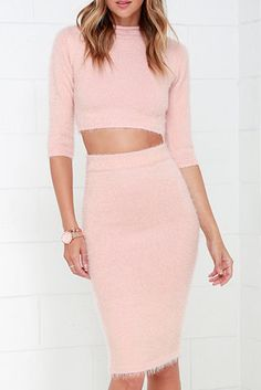 Fuzzy Blush Pink Sweater Two-Piece Dress – Colors of Aurora