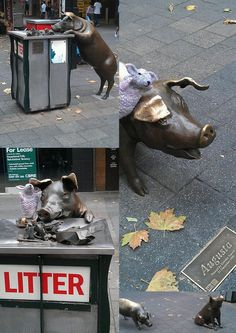 Beautiful and amusing pig sculptures in Rundle Mall, Adelaide, South Australia. Photo by Judy Edmonds