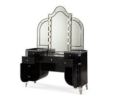Modern Home and Office Furniture Store HOLLYWOOD SWANK STARRY NIGHT UPHOLSTERED VANITY AND MIRROR