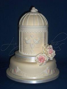 """""""Love Birds"""" wedding cake ~ all edible"""
