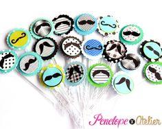 Mini Topper Docinhos Bigode/Mustache   Penelope Atelier   Elo7