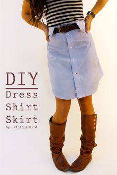 Diy Dress Shirt Skirt  •  Free tutorial with pictures on how to recycle a shirt into a skirt in under 180 minutes