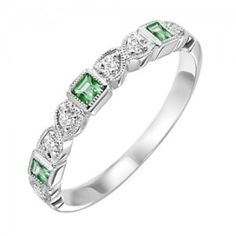 10k white gold diamond and square emerald birthstone ring. The perfect May birthstone ring or mothers ring, this 10 karat white gold band has square emeralds and diamonds alternating half way around t