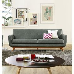 TOV Furniture Lyon Leather Sofa - Grey - TOV-S31