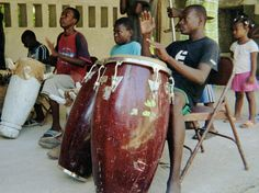 An impromptu performance by a drum troupe in Milot, Haiti - 2008